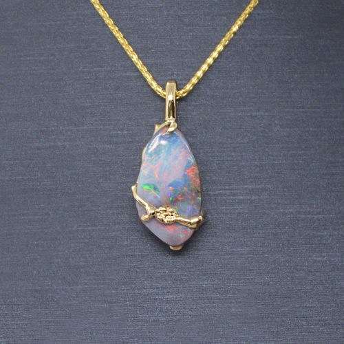 Dainty vine and flower design in 14k yellow gold pendant with beautiful Australian boulder opal natural gemstone. Designed by Morgan's Treasure in Westerville, OH