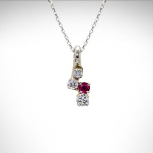 14K white gold custom pendant with ruby and diamonds