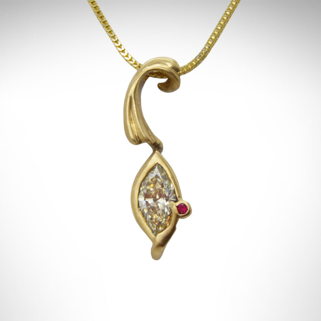 Yellow Gold, Marquise Diamond, Ruby Necklace, Custom Design