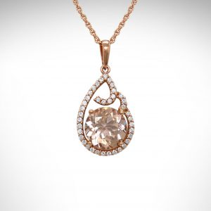 14K Rose gold morganite and diamond necklace with swirl design