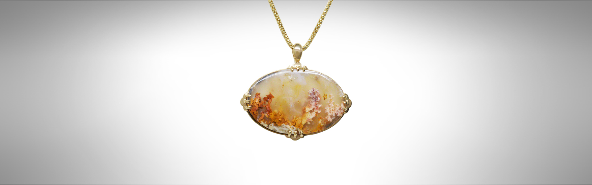 moss agate 14kt yellow gold pendant with chain, necklace with orange and pink colors.