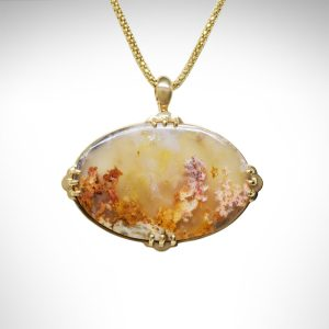 Moss agate pendant on popcorn chain in 14k yellow gold, horizontal oval with picture like floral design natural gemstone, peach yellow gold colored in vintage design with frame and prongs