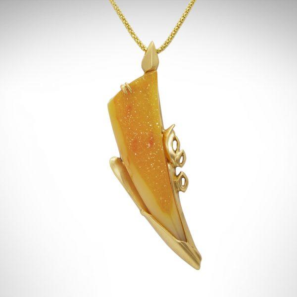 Orange druzy custom designed in a contemporary 14kt yellow gold setting