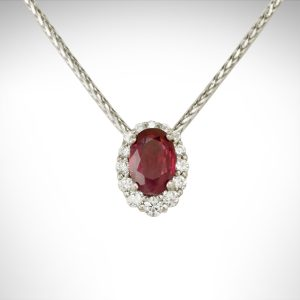 14k white gold necklace with wheat chain and oval faceted ruby set in halo slide pendant with diamonds