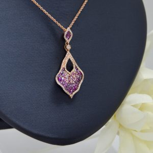 Allison Kaufman necklace in 14K rose gold with pink sapphires and diamonds