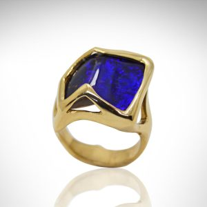 Australian boulder opal ring in stunning cobalt blue color with organic 14KY gold setting.