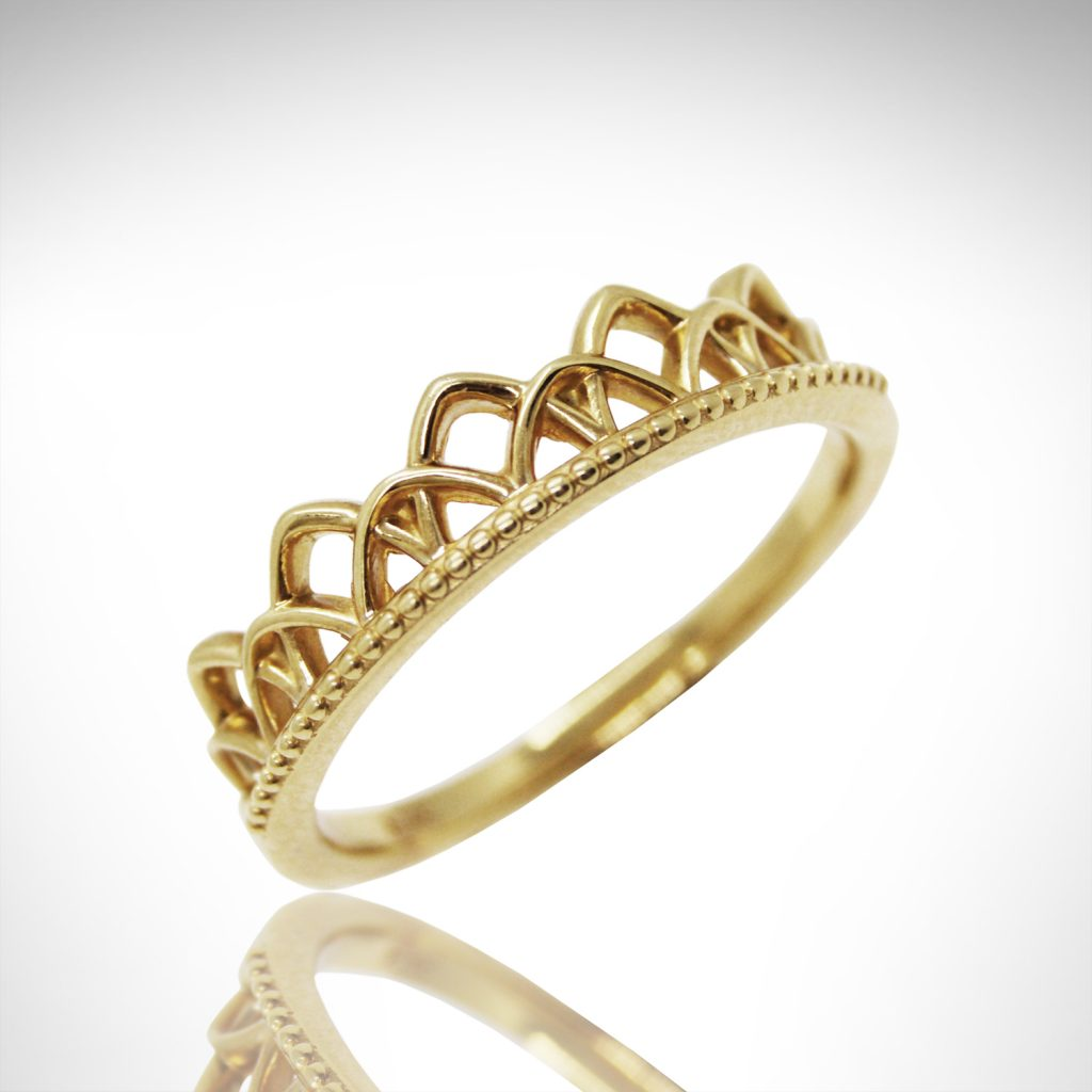14k yellow gold stackable ring in openwork design like lace or crown, art deco