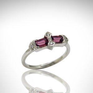 emerald-cut Rhodolite garnet set in art deco 14Kt white gold ring setting with diamonds