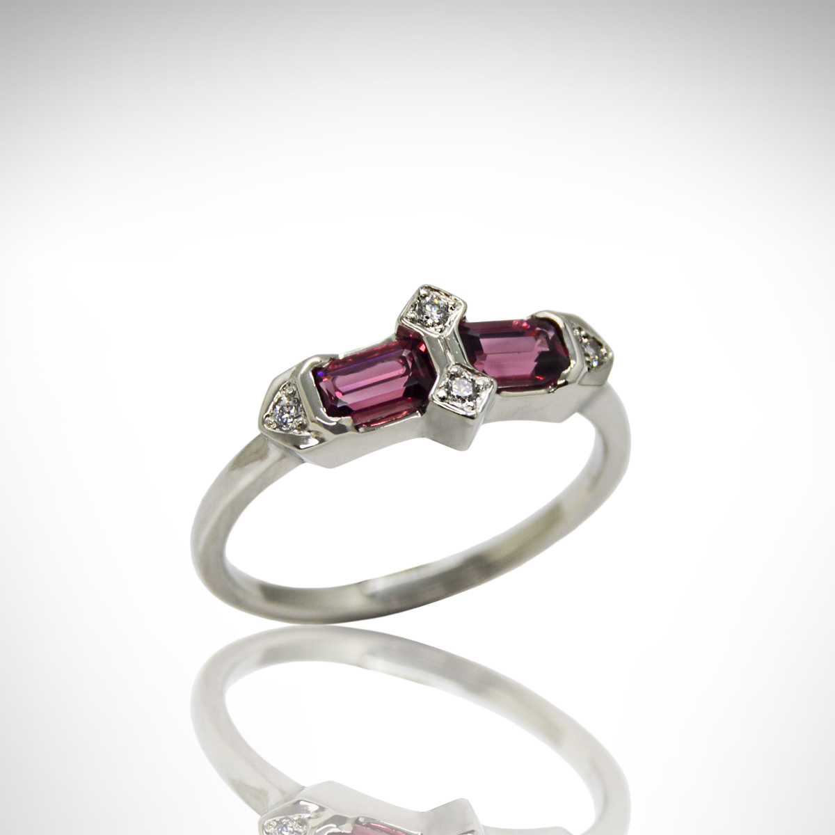emerald-cut Rhodolite garnet set in art deco 14Kt white gold ring setting with diamonds