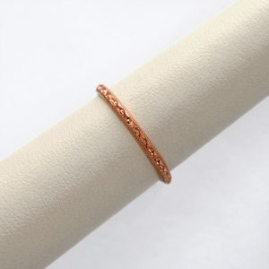 14K rose gold engraved wedding band or stackable ring