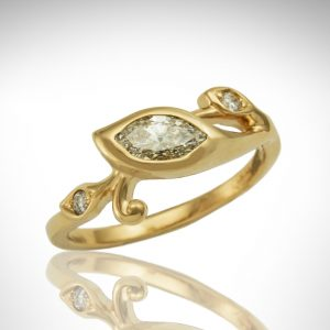 14K yellow gold ring with marquise in leaf-shaped bezel in flowing vine design with round accent diamonds in leaves with scroll, custom diamond ring.