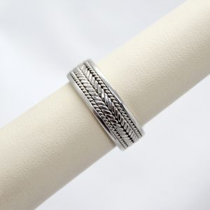 Hand-braided mens wedding band in 14kw gold
