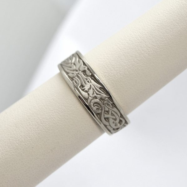 Studio 311 carved 14K white gold wedding band with celtic dragon design