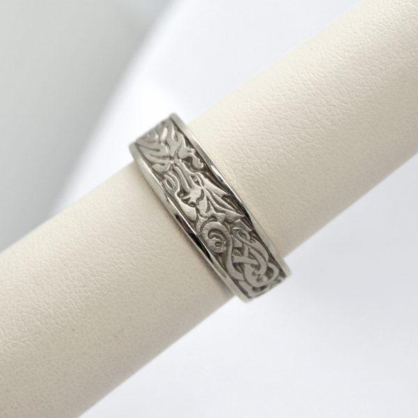 Studio 311 carved 14K white gold wedding band with celtic dragon design