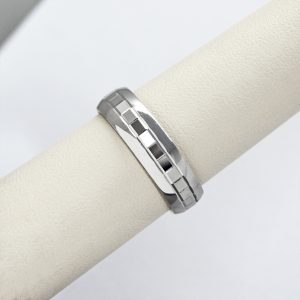 14K white gold mens wedding band with faceted geometric square design.