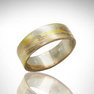 18k yellow gold, 14k rose gold and sterling silver mokume gane wedding band