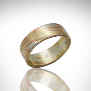 18k yellow gold, 14k rose gold and sterling silver mokume gane wedding band