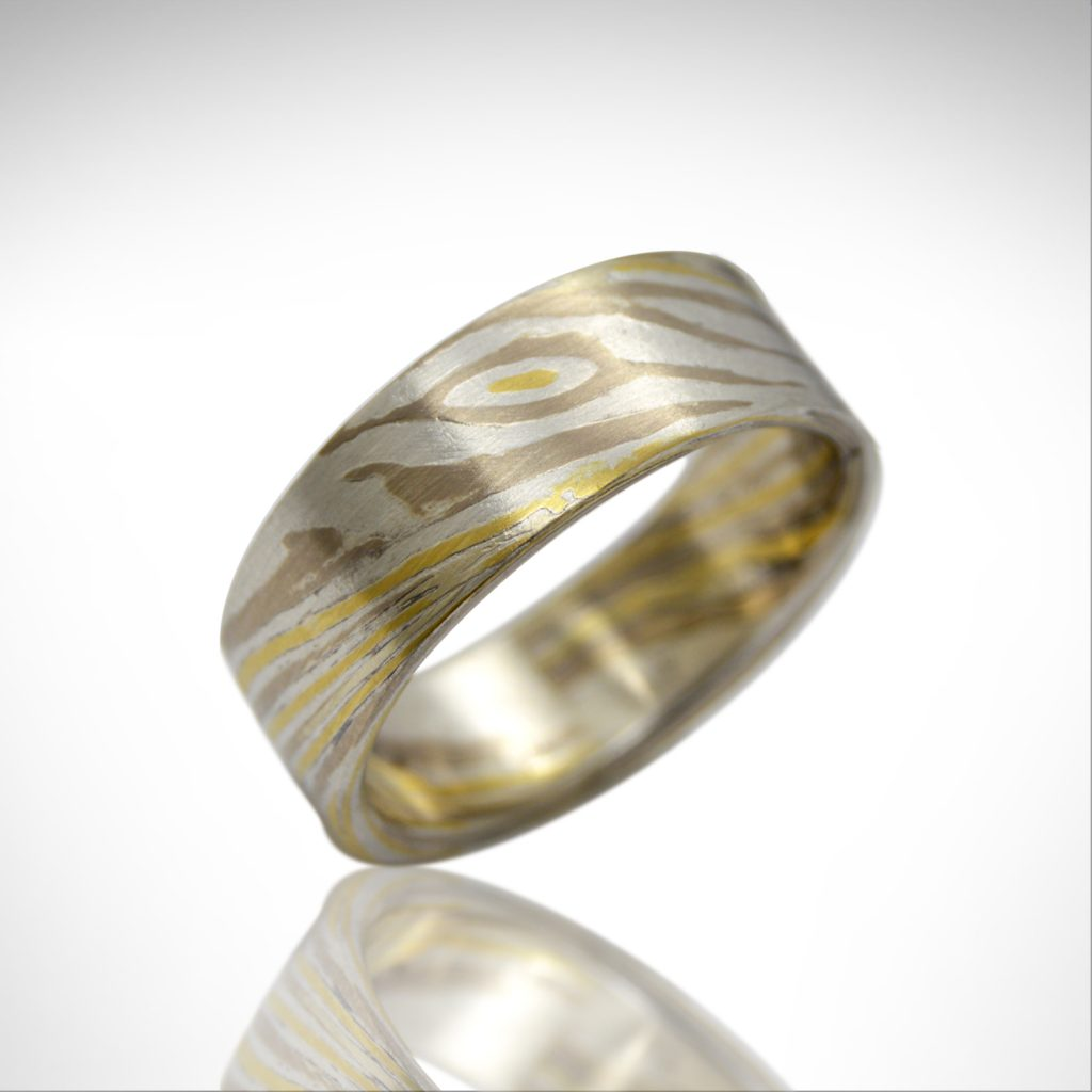 mokume gane wedding band with palladium white gold, 18k yellow gold and sterling silver, hand fabricated by Morgan's Treasure