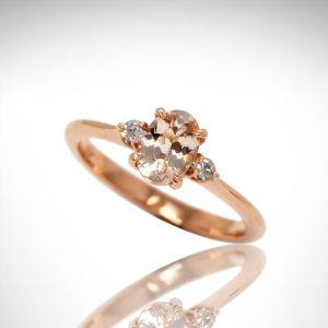 morganite 3 stone ring with side diamonds in 14k rose gold