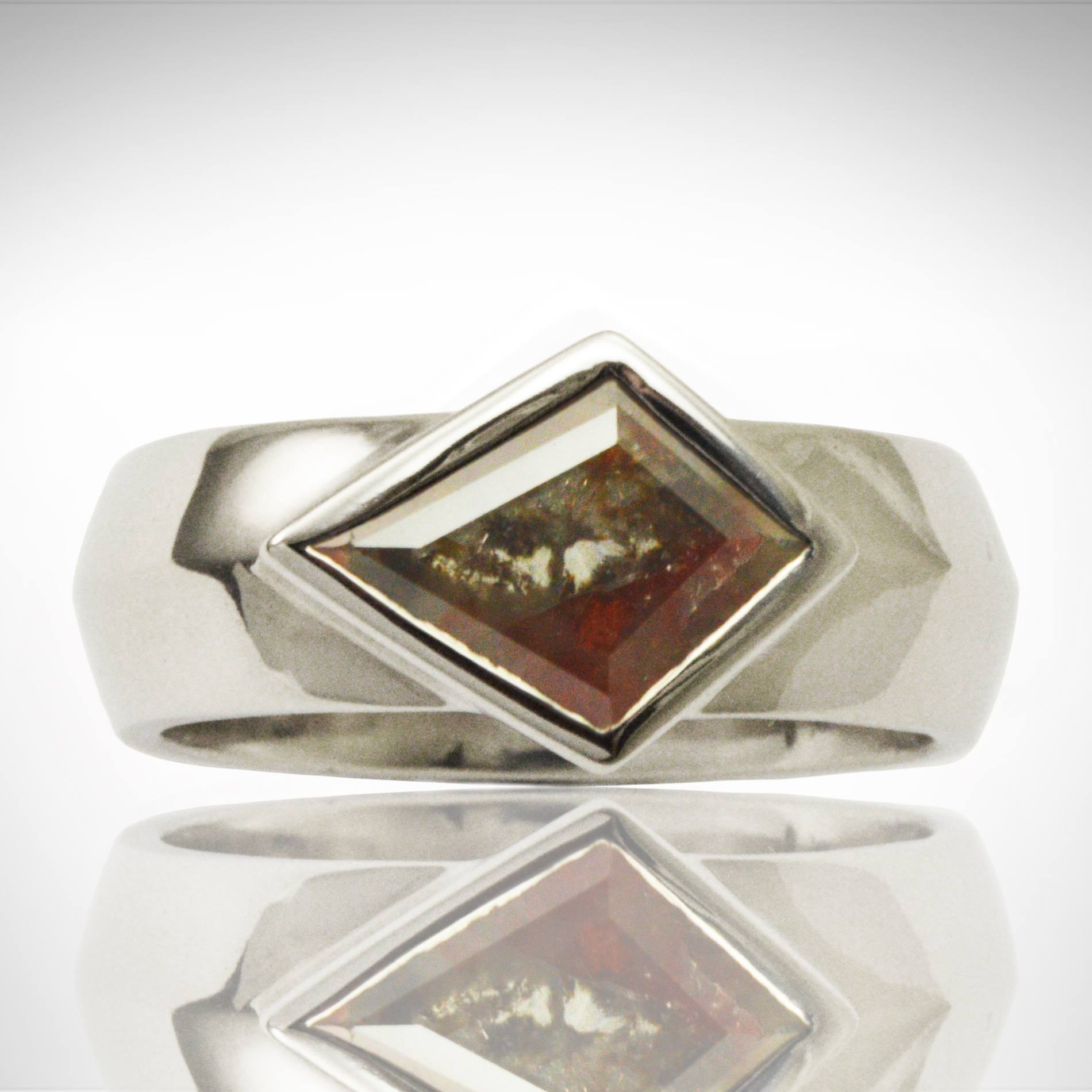 Men's palladium ring with kite-shaped diamond slice with black, brown and red inclusions