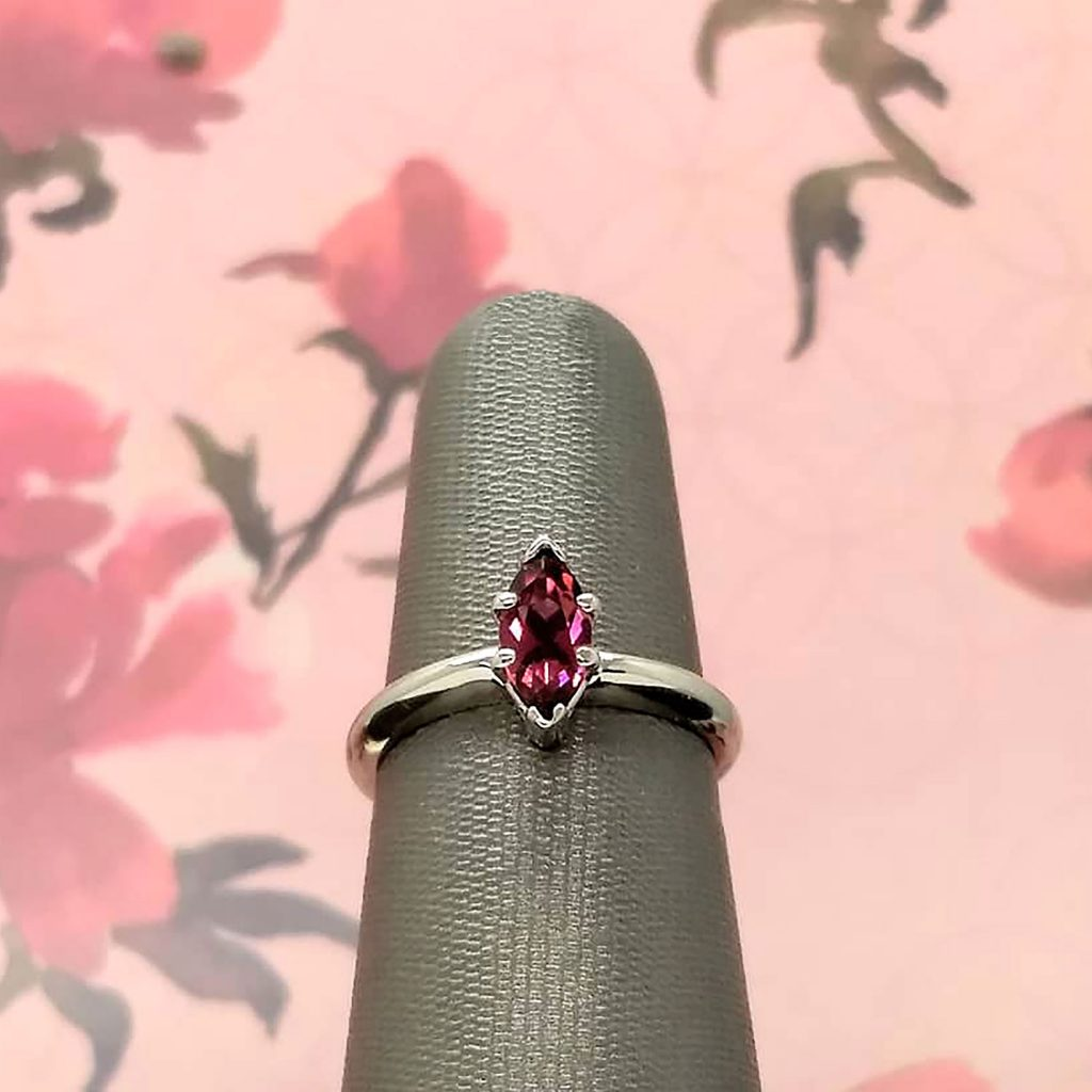 Marquise pink tourmaline ring in 14k white gold
