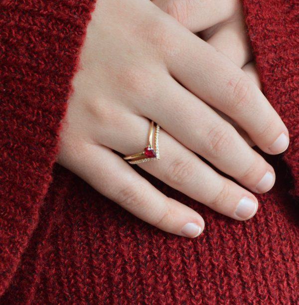 Ring Ruby and Diamonds