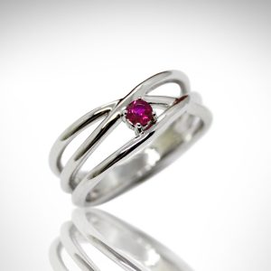 Crisscross ring multistrand 14kw white gold ring with natural ruby