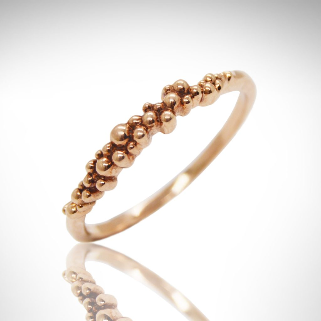 rose gold stackable ring with bubble design in 14k