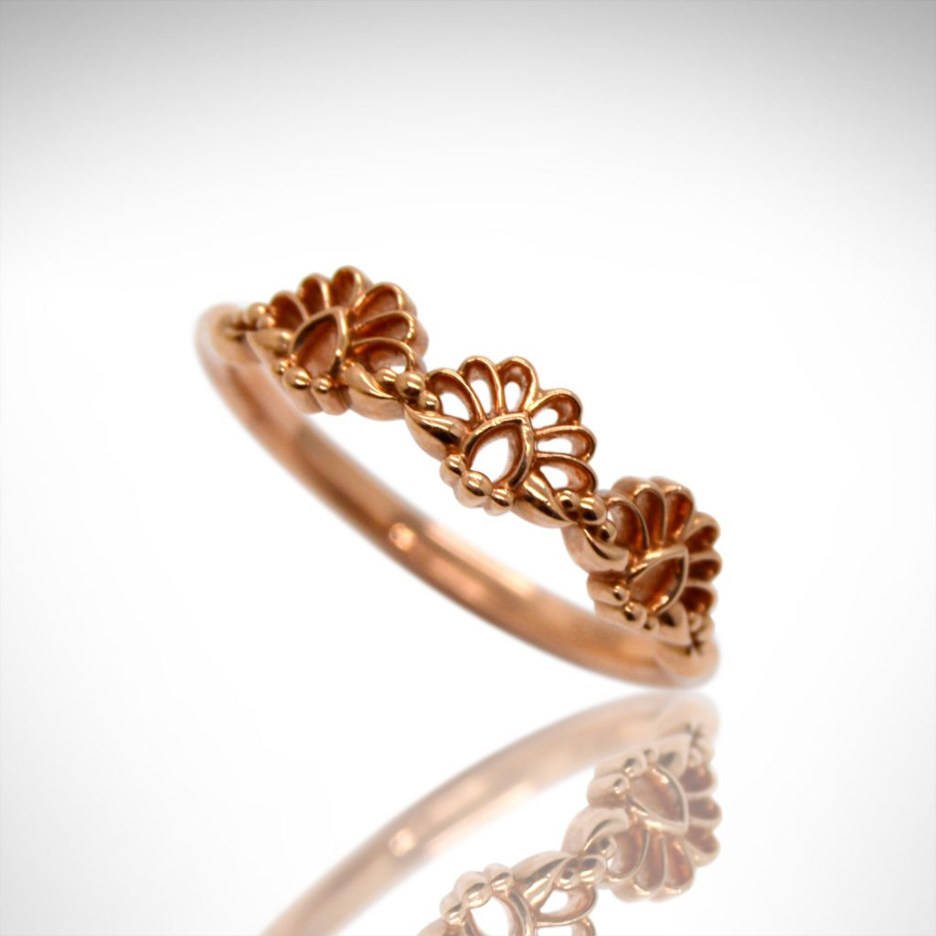 Art deco lace design stackable ring in 14k rose gold
