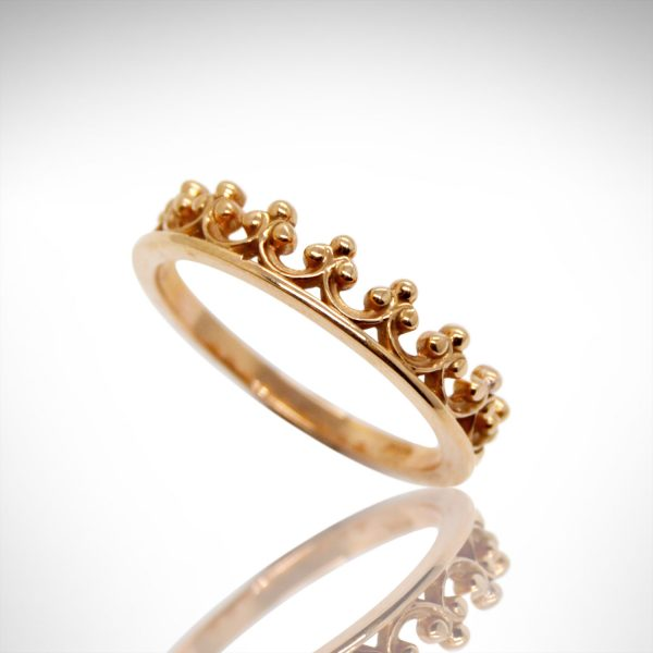 crown style stackable ring in 14K rose gold