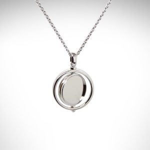 Empire Revival Round Spinner Necklace designed by Kit Heath in Sterling silver