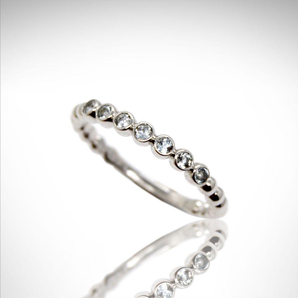 aquamarine gemstones in bezel settings, 14k white gold stackable ring