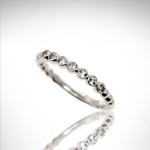 aquamarine gemstones in bezel settings, 14k white gold stackable ring